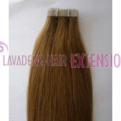 """Colour: #12 Dark Caramel Blonde Tape Hair Extensions Straight - 20"""" Style : Straight Weight: 60grams Length:  20 inches"""
