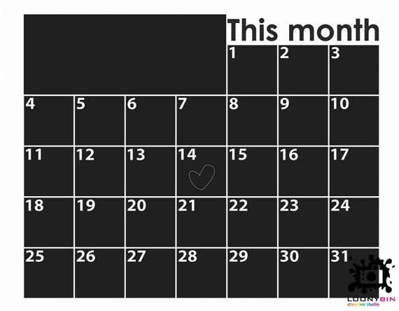 Chalkboard calendar with space for notes 01 by LoonyBinWorkshop