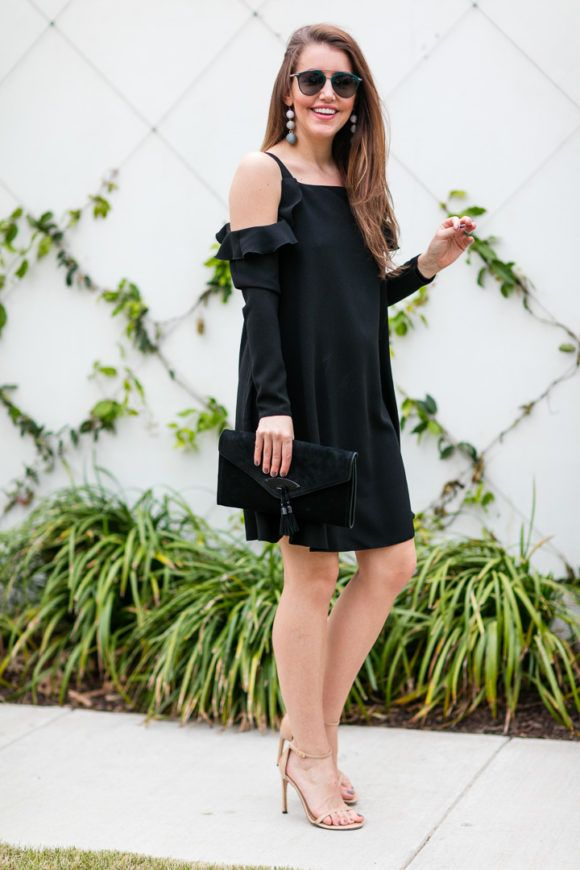 Black Cold Shoulder Dress - Dallas Wardrobe
