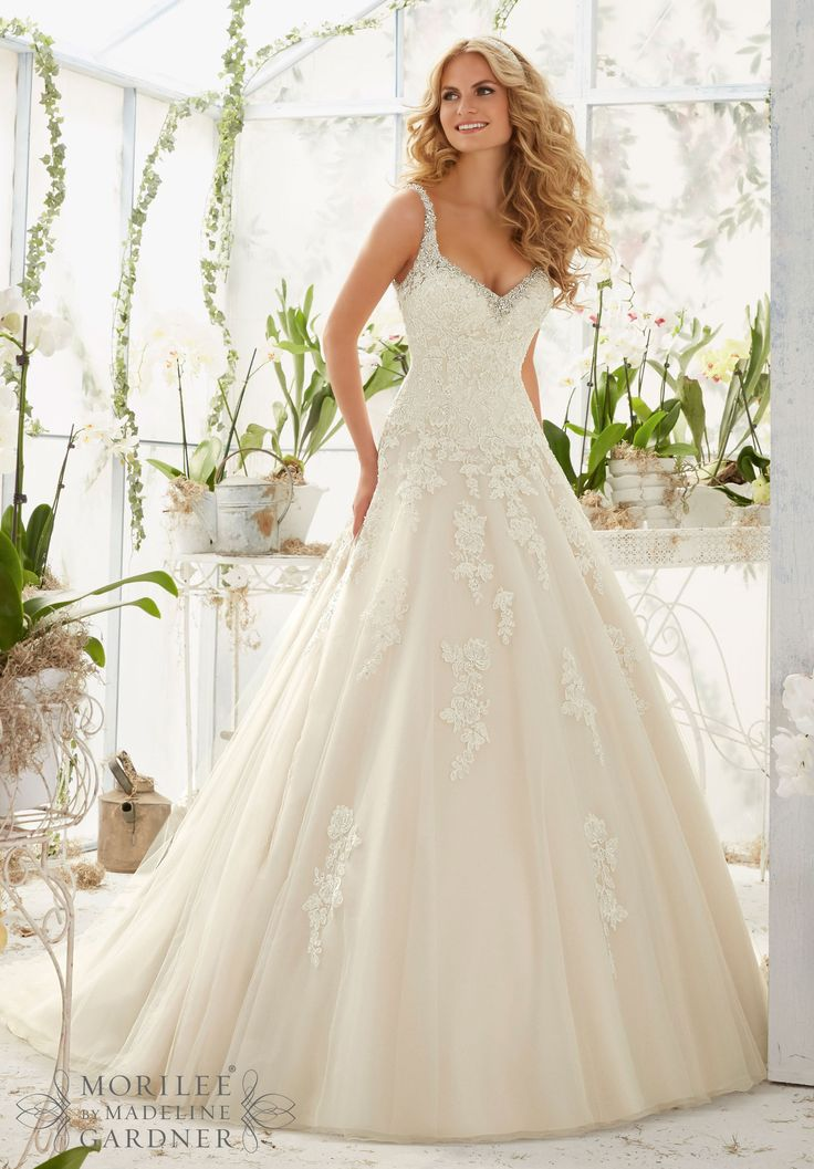 Mori Lee - Crystal Beaded Edging Meets the Alençon Lace Appliqués on the Tulle Ball Gown