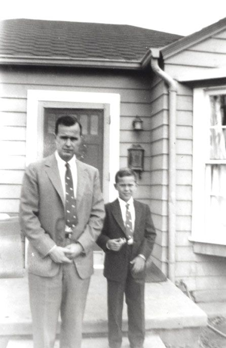 Two future presidents: dad George H.W. and son George W. Bush