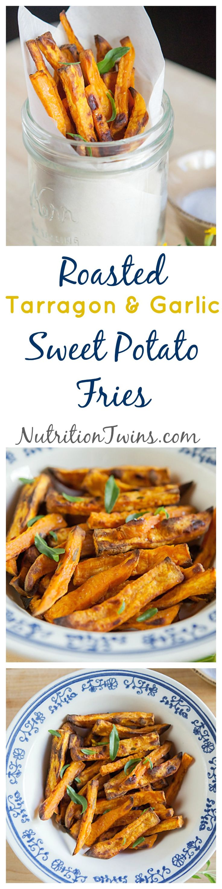 """Roasted Tarragon Garlic Sweet Potato """"Fries"""" 