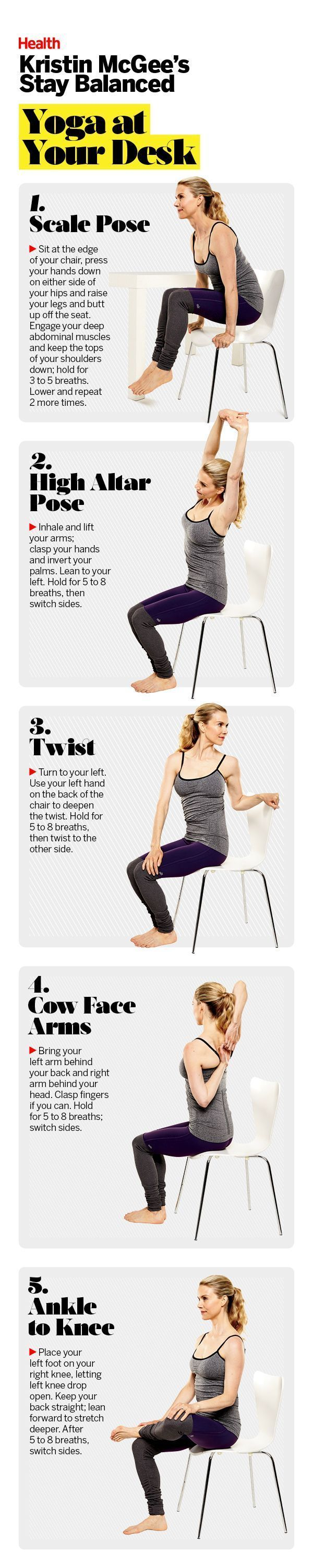 Stuck at a desk job? There are ways to sneak in exercise at work. These yoga moves ease neck and back strain and tone too! Best of all: You can do them all in your chair! | Health.com