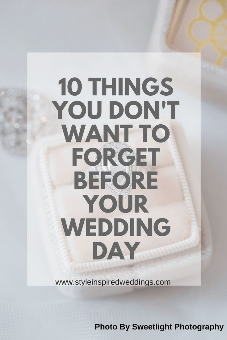 Let's face it, it is hard enough remembering tasks and info on any day in your regular life so, why would your busy wedding week be any different? I have done a little bit of research and found the 10 most common things you forget on your big day.