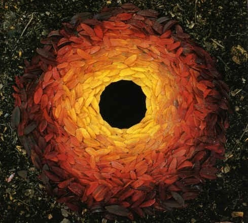 Andy Goldsworthy. Rowan leaves around a hole, made on a sunny day in the shade, Yorkshire Sculpture Park, West Bretton, October 25, 1987.