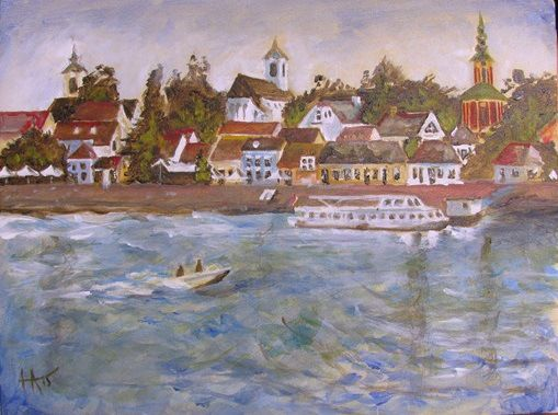 Acrylic painting. View of Szentendre from the Danube river.