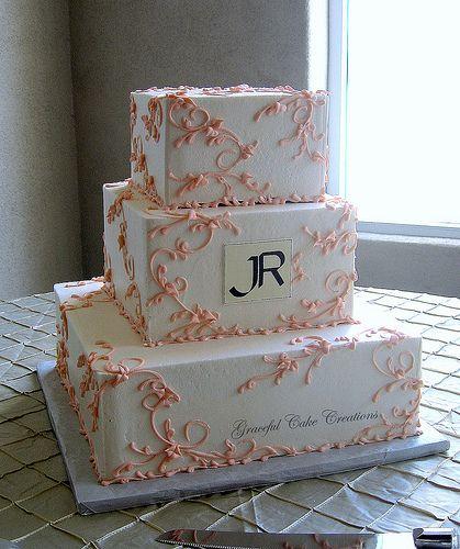 Elegant Ivory and Peach Wedding Cake