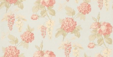 Fleurs et Toile (CG28828) - Galerie Wallpapers - A pretty combination of roses, hydrangeas and wisteria on a vinyl backing. Shown here in rose pink on pale sky blue - more colours are available. Please request a sample for true colour match.