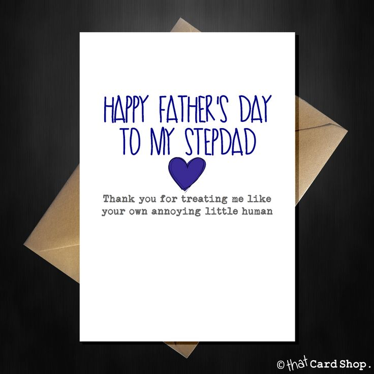 Funny Happy Fathers Day Card - Thank You Stepdad