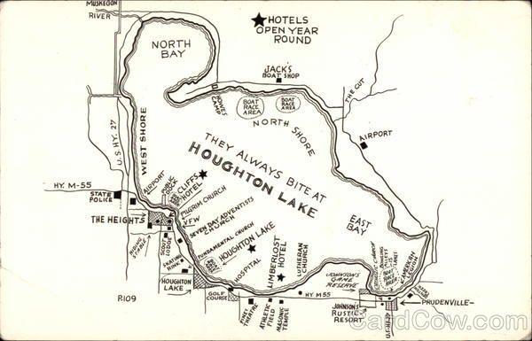 higgins lake fishing map Map Of Houghton Lake Mi Maps Houghton Lake Houghton Lake higgins lake fishing map