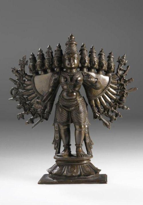 Hindu Cosmos - Figure of Vishnu with attributes  Bronze: India,...