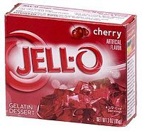 Jell-O-- is a registered trademark of Kraft Foods for varieties of gelatin desserts, including fruit gels, puddings and no-bake cream pies.