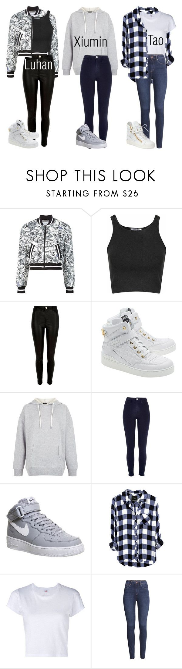 Exo Inspired Outfits Pt.4 by fangirlkaly8102 ❤ liked on Polyvore featuring Moschino, Glamorous, River Island, New Look, NIKE, RE/DONE, HM, Giuseppe Zanotti, kpop and EXO