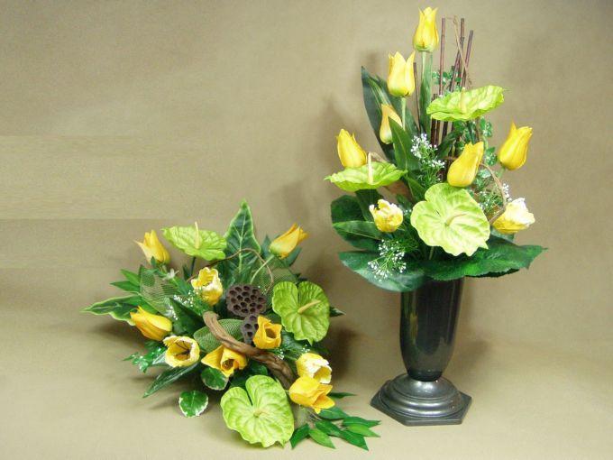 ANTURIUM TULIPANY żółte 1913.5 stroik na grób + BUKIET KOMPLET Kompozycje kwiatowe Marko604