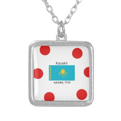 Kazakh Language And Kazakhstan Flag Design Silver Plated Necklace - jewelry jewellery unique special diy gift present