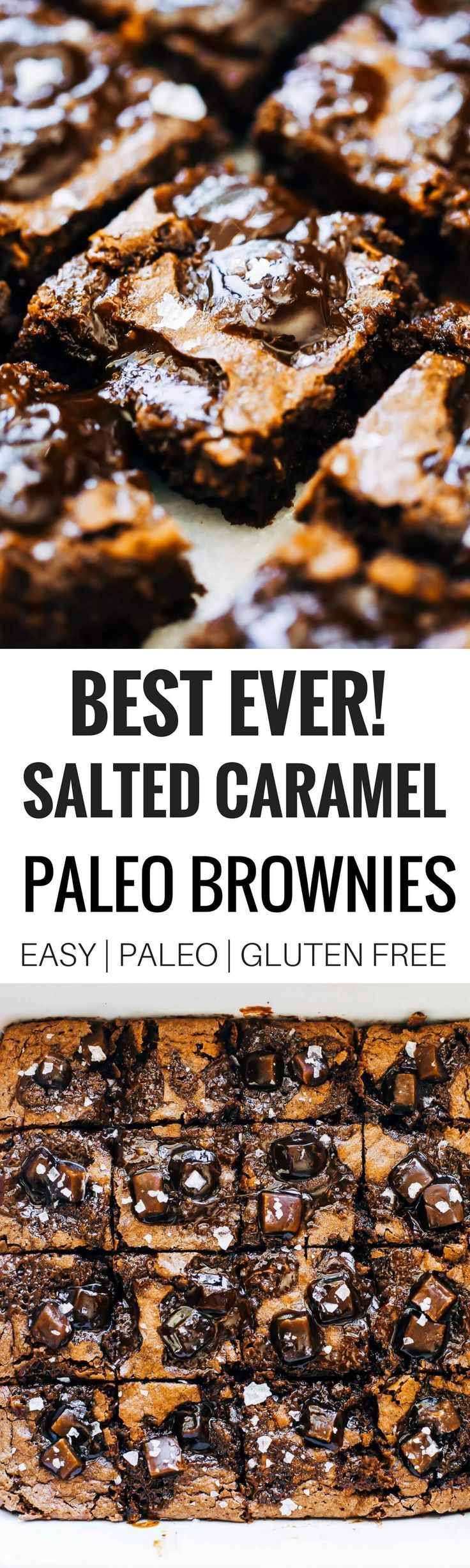 The ultimate fudgey paleo salted caramel brownies. Thick. Dense. Perfect fudgification. Caramel Pools. Appropriate gooey-factor. Healthy, gluten free, and paleo brownies. These brownies are rockstars, winning hearts of both paleo and wheat-eaters alike! B #paleofoodrecipes