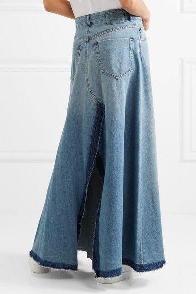 MM6 Maison Margiela - Frayed Denim Maxi Skirt - Mid denim
