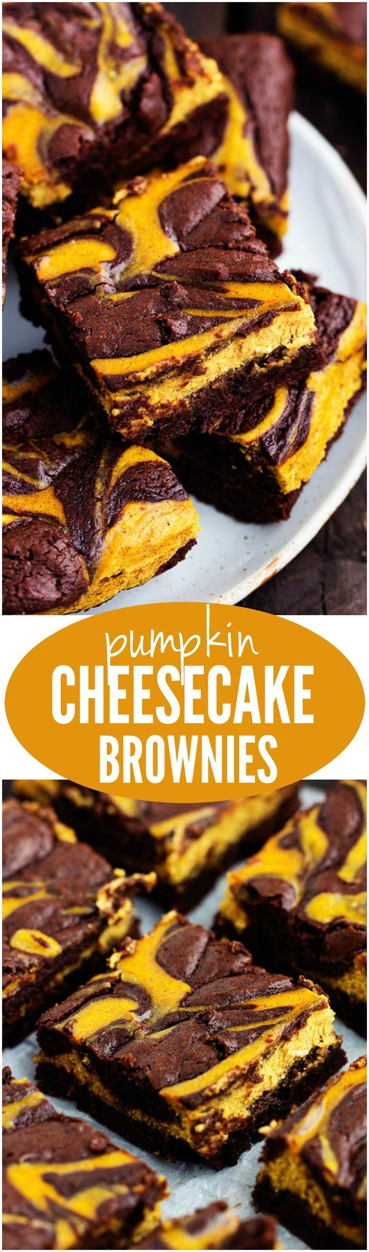 Pumpkin Cheesecake Brownies - Perfectly moist and fudgy brownies swirled with pumpkin cheesecake. These are so rich and delicious and they make an amazing fall treat!