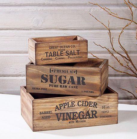 Vintage Style Wood Pantry Crates