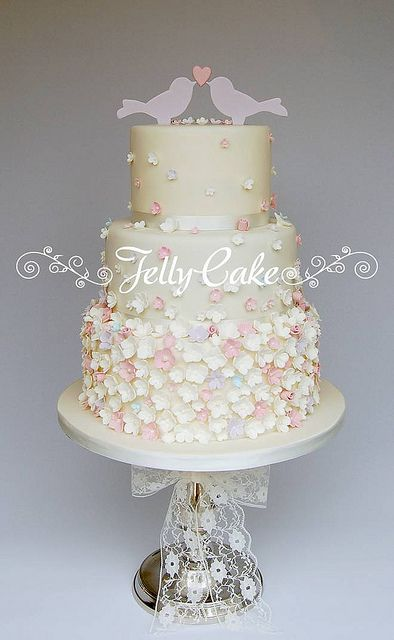 Cascading Blossoms and Birds Wedding Cake   Flickr - Photo Sharing!