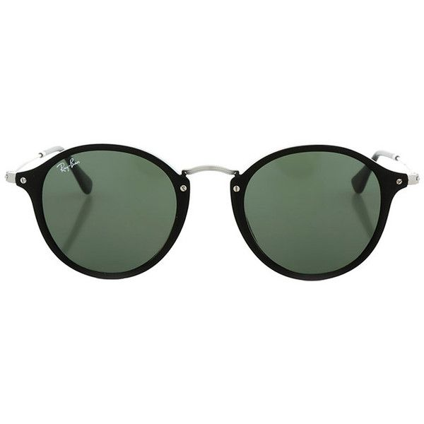 Ray-Ban Round Fleek Green Classic G-15 (7,430 DOP) ❤ liked on Polyvore featuring accessories, eyewear, sunglasses, glasses, women, green sunglasses, silver lens sunglasses, silver sunglasses, ray ban eyewear and round sunnies