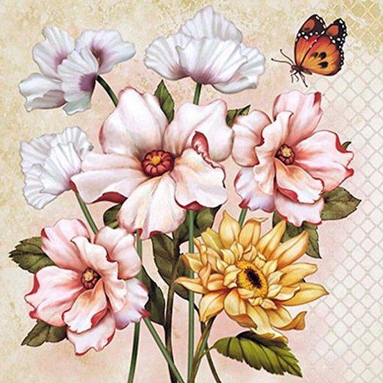 decoupage flores arte francés