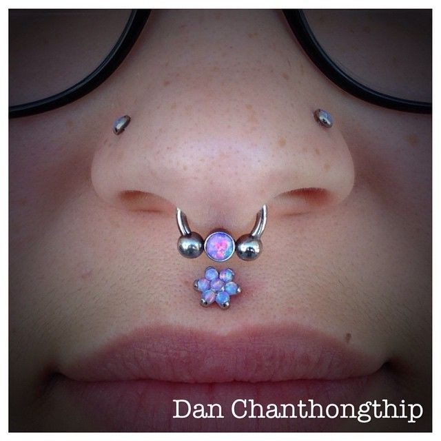 philtrum and septum healed and loving all these lavender opals from anatometal!