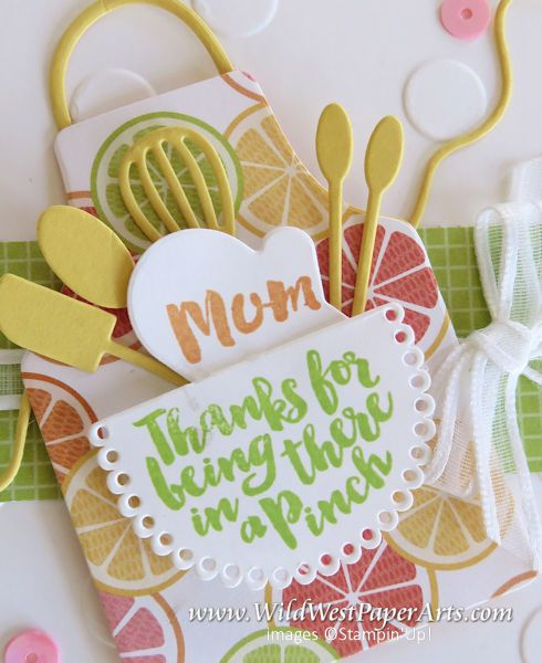 Apron strings can tie you up in knots and sometimes they surround you in love. You decide after visiting today's project from Rae Harper-Burnet at Wild West Paper Arts.