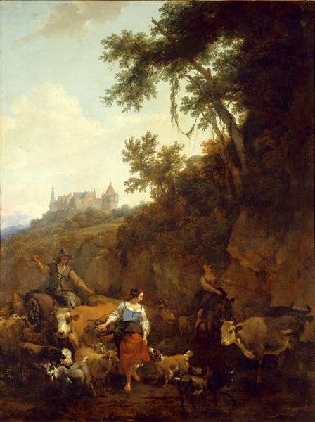 Nicolaes Berchem - Landscape with Bentheim Castle in Background
