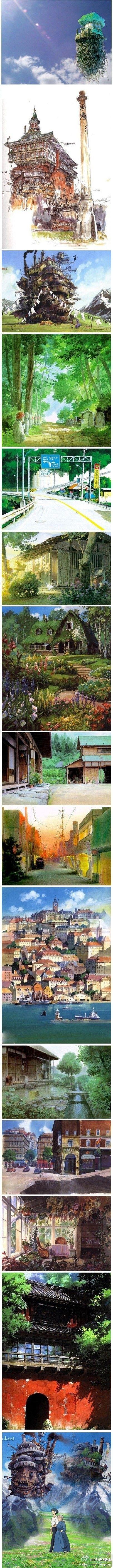 Background layout art in Hayao Miyazaki films.