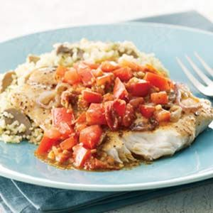 Tomato Pesto Fish  I used Tilapia, this is one of the best fish dishes I've ever eaten.