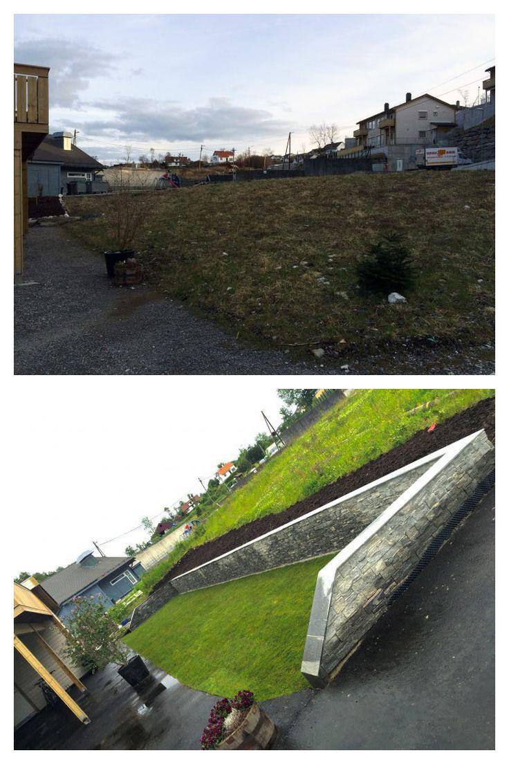 #Plen, #blomsterbed og #steinmur etter totalforvandling av #uteområde.