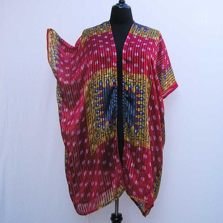 Red and gold Kimono, plus size kimono, boho kimono, 1x 2x 3x 4x 5x 6x kimono, plus size dressing gown, plus size robe, beach pool cover up by Rethreading on Etsy