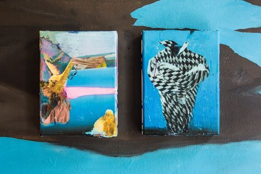 Giuseppe Gonella – De aeterno reditu Malerei/Paintings  These two small paintings, 'The Guardian of the Sun' (left), and 'The Guardian of the Night' (right) are part of the wallpainting/installation.