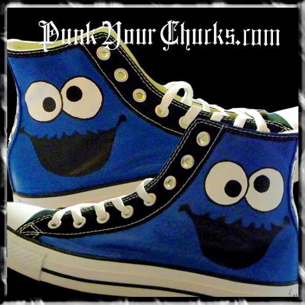 Cookie Monster Custom Converse Sneakers hand painted by celebrity artist  MAG.