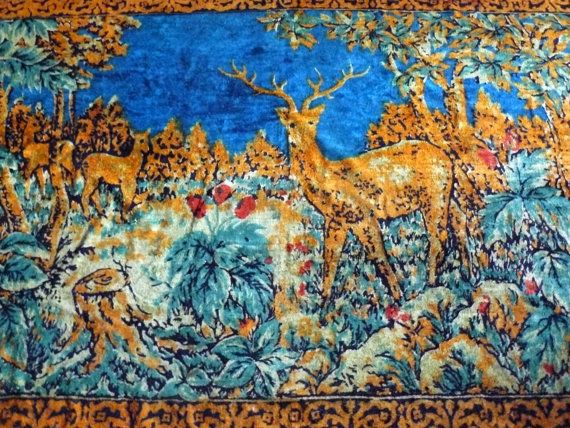 Vintage plush wall rug carpet with deer, Rug, Kilim, Decorative wall carpet tapestry, Handmade vintage USSR, Plush Carpet, Velvet Textile  Famous plush carpet that was part... #bedcover