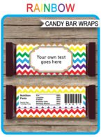 Rainbow Hershey Candy Bar Wrappers template