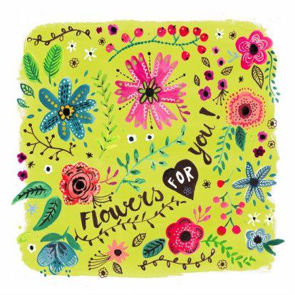 Vrolijke bloemen in waterverf en hand geletterd, speciaal ontworpen om iemand beterschap te wensen. Design: Cartita Design. Te vinden op: www.kaartje2go.nl