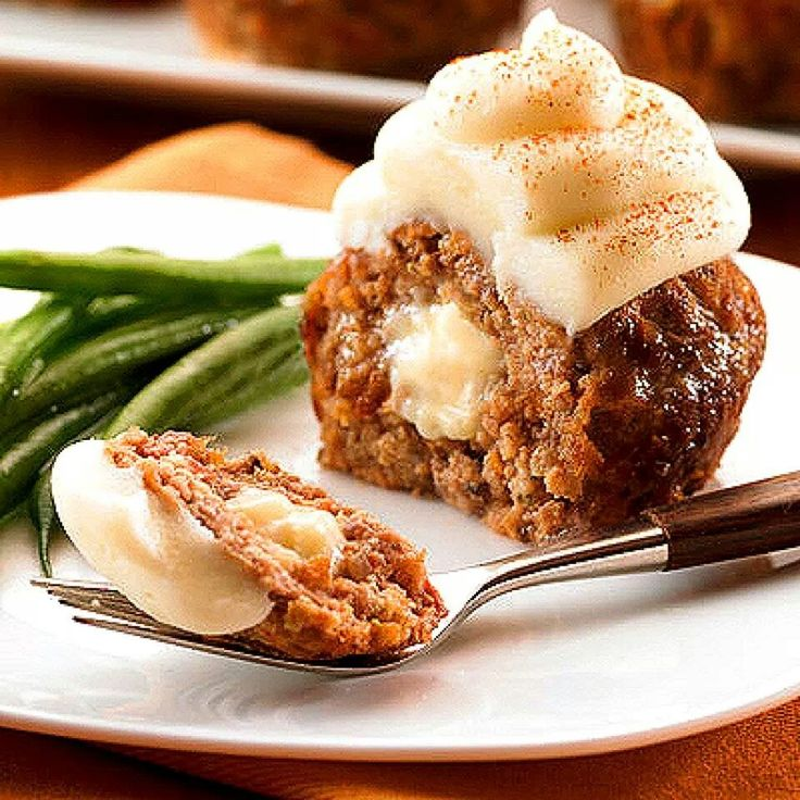 """Meatloaf muffins with mashed potato """"frosting"""""""