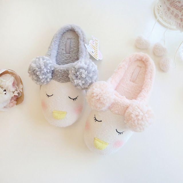 Розовый Милые Овцы Животных Женщины Домашние Тапочки Дом Обуви Для девушки Дамы Крытый Спальня Хлопка, Женщина Теплая Зима Мягкие Квартиры новый