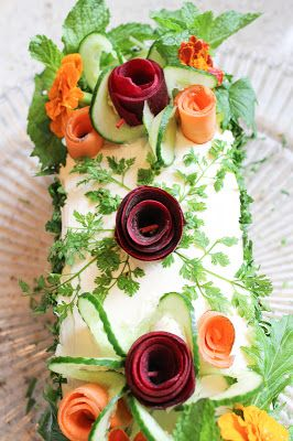 Sandwich Cake - Smörgåstårta. - Stack sandwiches. Right before serving, cover with cream cheese & any veggie decoration you like. Fun!  I make this for special events.