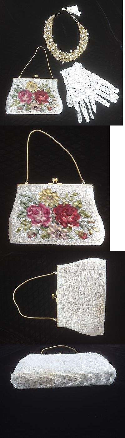 Bridal Handbags And Bags: Vintage Needle Point Beaded Bag, Gloves And Nwt Faux Pearl Necklace -> BUY IT NOW ONLY: $37.0 on eBay!
