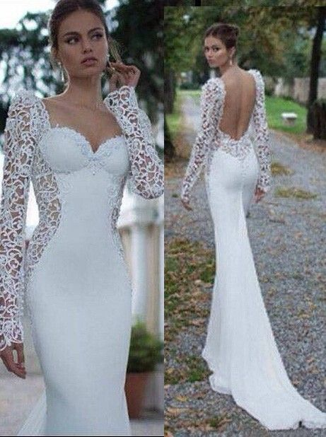 Buy Elegant Sweetheart Long Sleeves Lace Open Back Mermaid Wedding Dresses With Court Train WD-71133 Trumpet/Mermaid Wedding Dresses under US$ 259.99 only in SimpleDress.