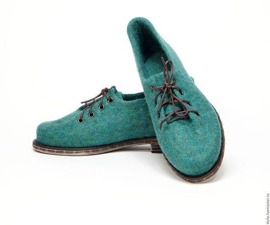 """Обувь ручной работы. Ярмарка Мастеров - ручная работа. Купить Валяные туфельки """"Изумрудное побережье"""". Handmade. Морская волна, изумрудный"""