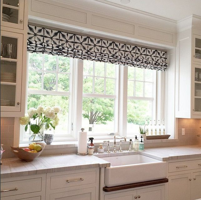 Kitchen Window Shades. Kitchen Window Shade Fabric. #KitchenWindowShades Caitlin Creer Interiors.