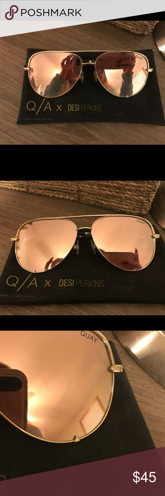 Quay High Key sunglasses High key quay sunglasses! Only worn a few times. I love these but there too big for my face. There's only one little scratch. Other than that they are like brand new! Also come with the case Quay Australia Accessories Sunglasses
