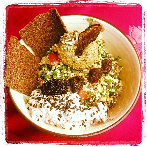 This weekend's lunch special: Sprouted tabbouleh with activated walnut dip, hommus and dehydrated crackers! :D