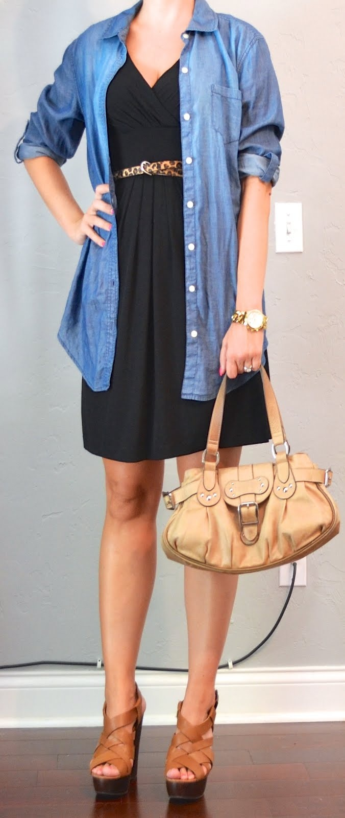 outfit post: black dress, chambray shirt, leopard belt | Outfit Posts Dynamic