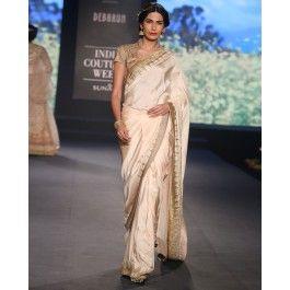 Beige Silk Sari with Golden Sequins
