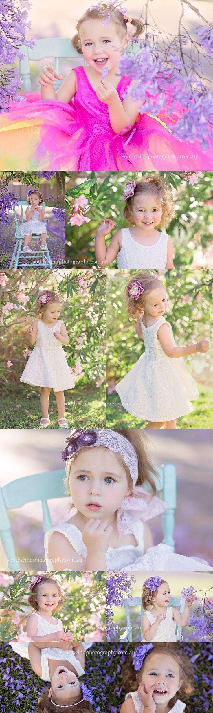 Gorgeous three year old E and Jacaranda flowers | Sydney Children's Photography #portraitphotographer #jacaranda #girl #centralcoast #sydney #purple #pink